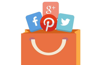 shopping bag with social media icons peeping out the top