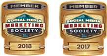 two badges denoting membership of the Social Media Marketing Society 2017 & 2018