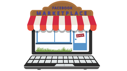 online shop with awning and keyboard headed facebook marketplace