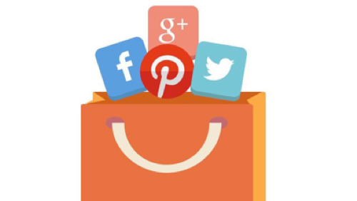 shopping bag full of social media icons for Pinterest facebook Google+ and Twitter